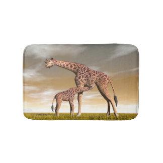 Tapete De Banheiro Girafa da mãe e do bebê - 3D rendem