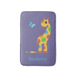 Tapete De Banheiro Girafa e borboleta coloridos dos desenhos animados