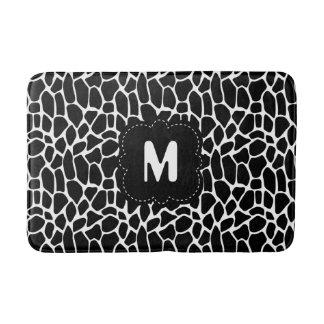 Tapete De Banheiro Impressão animal preto e branco com monograma