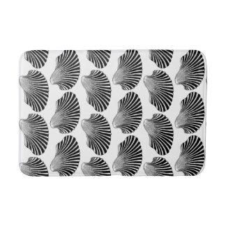 Tapete De Banheiro Impressão de bloco de Shell de Scallop, preto e