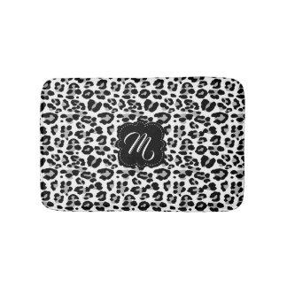 Tapete De Banheiro Impressão preto e branco do leopardo com monograma