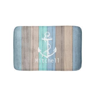 Tapete De Banheiro Listras náuticas de madeira & âncora da praia