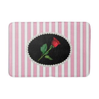 Tapete De Banheiro Listras, pérolas & esteira de banho cor-de-rosa