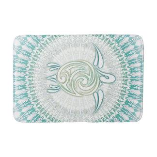 Tapete De Banheiro Mandala da tartaruga verde de turquesa
