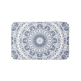 Tapete De Banheiro Mandala floral branca azul cinzenta