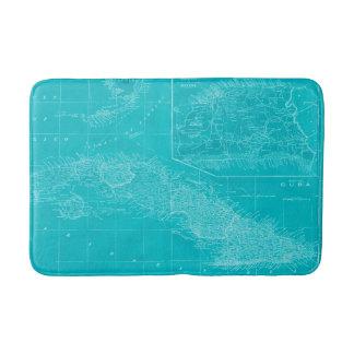 Tapete De Banheiro Mapa azul de Cuba