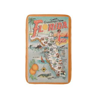 Tapete De Banheiro Mapa de Florida Greeetings do vintage das atrações