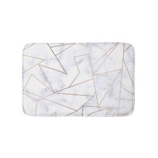 Tapete De Banheiro mármore branco geométrico do ouro cor-de-rosa
