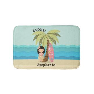 Tapete De Banheiro Menina havaiana do surfista