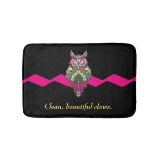 Tapete De Banheiro Modelo limpo das garras do preto colorido do rosa