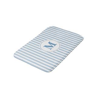 Tapete De Banheiro Monograma azul e branco do teste padrão da listra