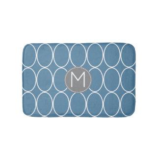 Tapete De Banheiro Monograma azul e cinzento do design gráfico