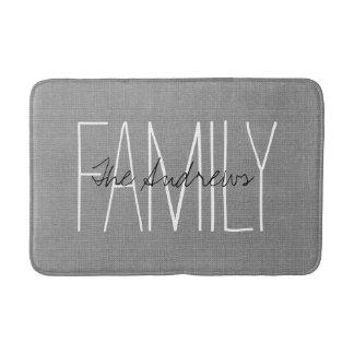Tapete De Banheiro Monograma chique rústico cinzento da família