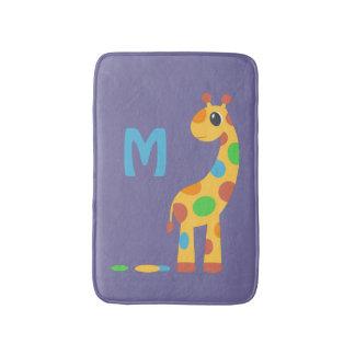 Tapete De Banheiro Monograma colorido do girafa dos desenhos animados