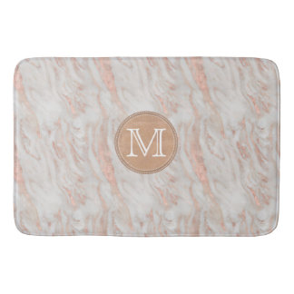 Tapete De Banheiro Monograma cor-de-rosa do costume do mármore do