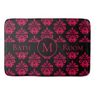 Tapete De Banheiro Monograma cor-de-rosa escuro no preto