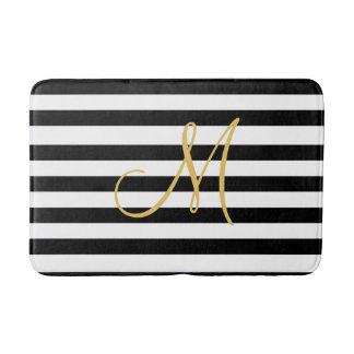 Tapete De Banheiro Monograma dourado em listras preto e branco