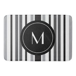 Tapete De Banheiro Monograma pessoal branco preto cinzento do teste