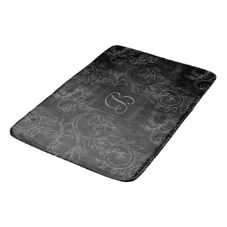 Tapete De Banheiro Monograma preto e cinzento do damasco