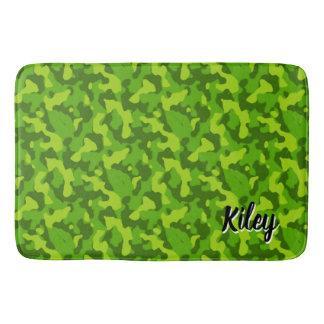Tapete De Banheiro Monograma verde do teste padrão da camuflagem