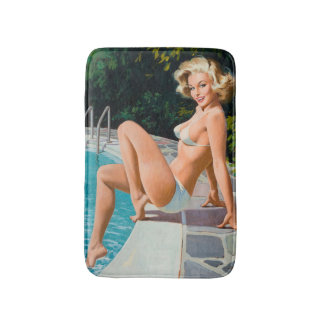 "Tapete De Banheiro Na menina retro loura ""sexy"" do pinup da piscina"