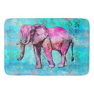 Tapete De Banheiro Na moda azul do rosa da aguarela do elefante