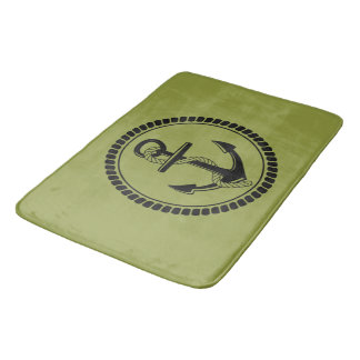 TAPETE DE BANHEIRO NEW-ANCHOR & ROPE-NAUTICAL_OLIVE-OIL-GREEN-RUGS