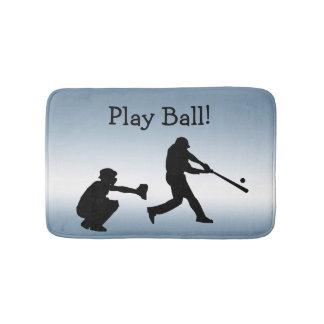 Tapete De Banheiro O basebol azul da bola do jogo ostenta a esteira