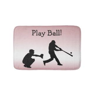 Tapete De Banheiro O basebol cor-de-rosa feminino doce da bola do