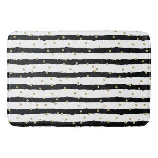 Tapete De Banheiro O branco preto listra confetes Sparkly do ouro