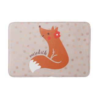 Tapete De Banheiro O Fox bonito com flor/cora fundo dos confetes