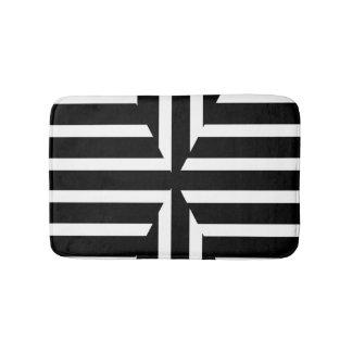 Tapete De Banheiro O sólido preto e branco moderno listra a esteira
