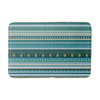 Tapete De Banheiro O verde azul da cerceta tribal listra a esteira de