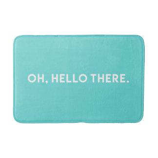 Tapete De Banheiro Oh olá! lá esteira de banho azul da tipografia |