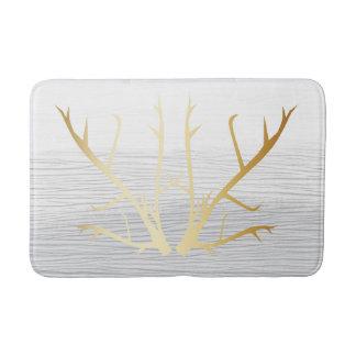 Tapete De Banheiro Os Antlers rústicos do ouro no branco & nas cinzas