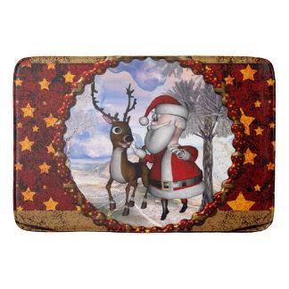Tapete De Banheiro Papai Noel engraçado com rena