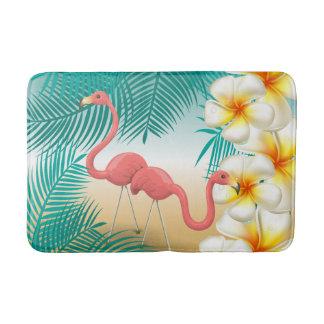 Tapete De Banheiro Paraíso tropical da praia dos flamingos
