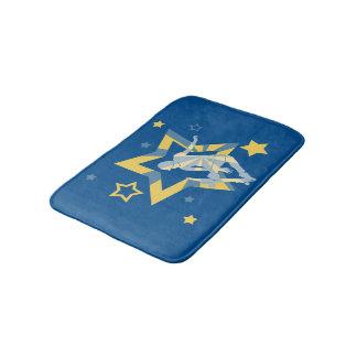 Tapete De Banheiro Patinador azul & amarelo da estrela