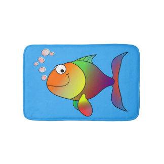 Tapete De Banheiro Peixe dourado alegre bonito no mar, luz - azul