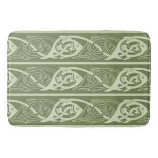 Tapete De Banheiro Peixes de Knotwork do céltico no verde