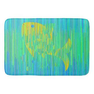 Tapete De Banheiro Peixes em cores do mar. Esteira geométrica do