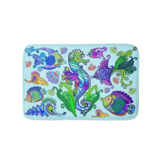 Tapete De Banheiro Peixes exóticos & cavalos marinhos da vida marinha