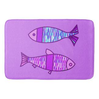 Tapete De Banheiro Peixes modernos retros, violeta, e roxo Amethyst