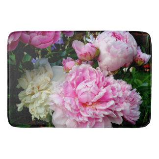 Tapete De Banheiro Peônias cor-de-rosa e brancas