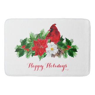Tapete De Banheiro Pinho cardinal vermelho do azevinho da poinsétia