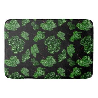 Tapete De Banheiro Preto botânico verde tropical de Cali da folha de