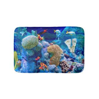 Tapete De Banheiro Recife de corais submarino colorido tropical