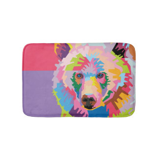 Tapete De Banheiro Retrato colorido do urso do pop art