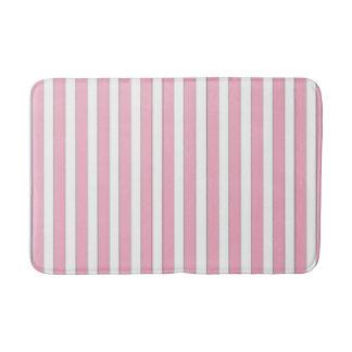 Tapete De Banheiro Rosa elegante, branco & esteira de banho listrada