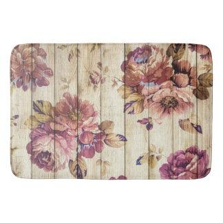 Tapete De Banheiro Rosas cor-de-rosa do vintage na esteira de banho